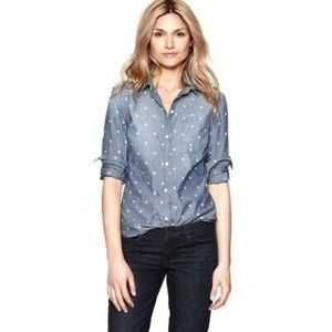 J Crew Chambray Classic Button Down polka dot Top